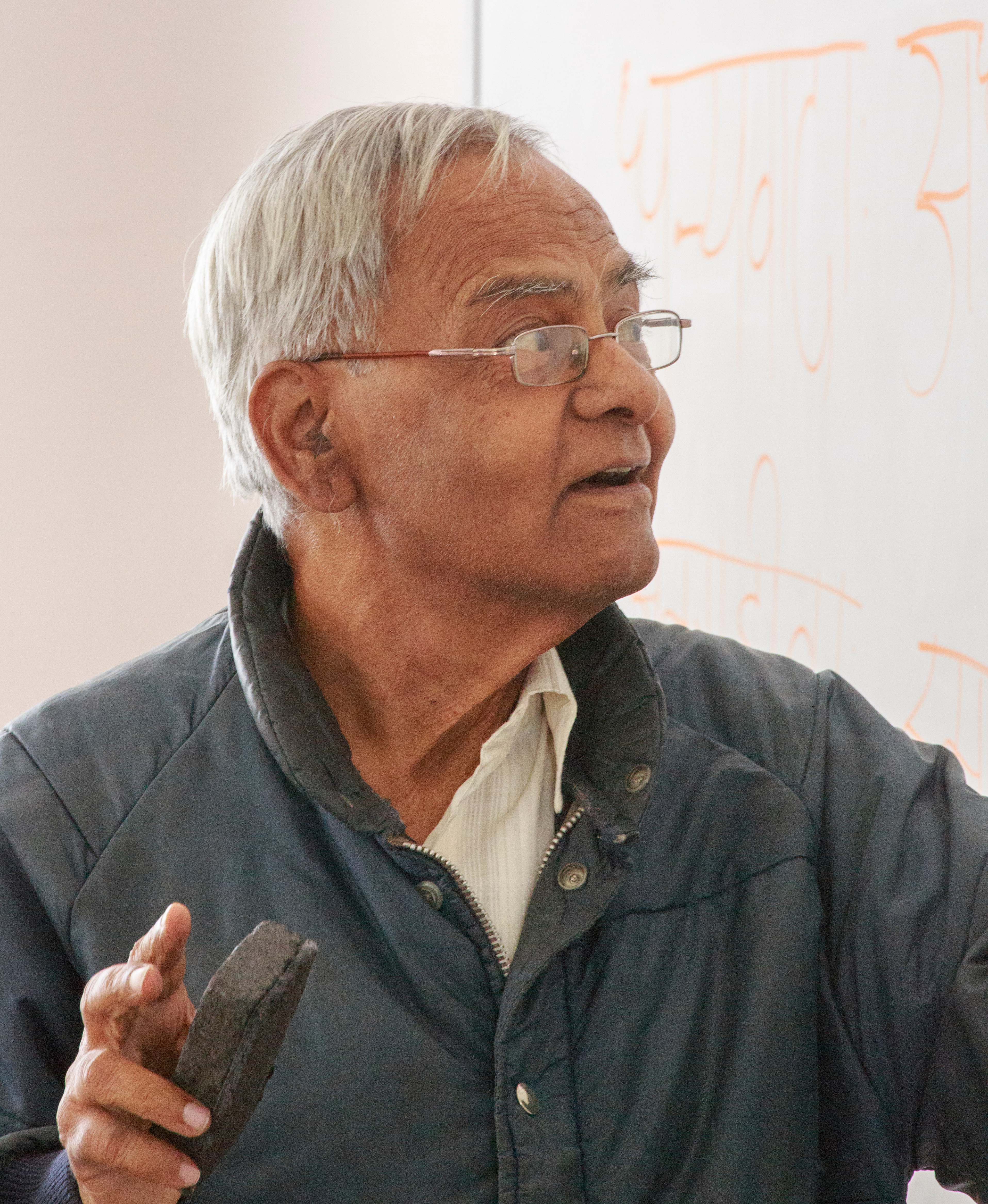 Professor Thite lecturing in class about the Vedic fires