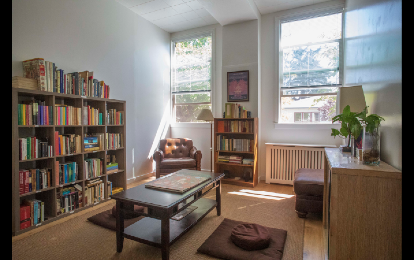 Sudhana Center's brand new reading room! This cozy spot is home to a remarkable collection of books, including many of the classical texts from Buddhist, Chinese, Indian, and Western traditions that form a part of DRBU's curriculum.
