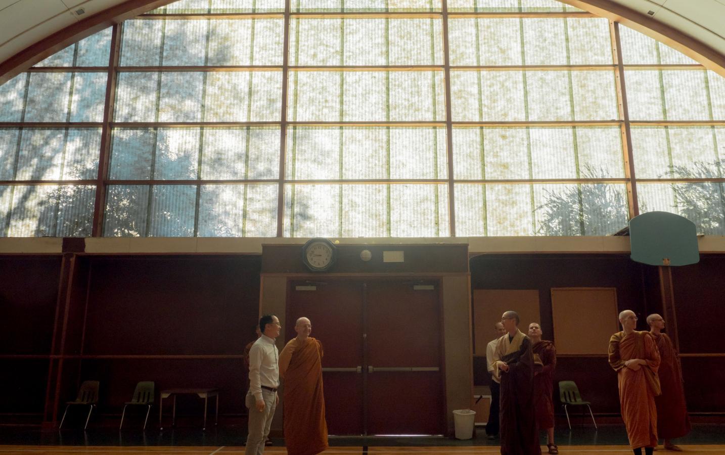Ajahn Amaro visits the Basketball Gym in Sudhana Center