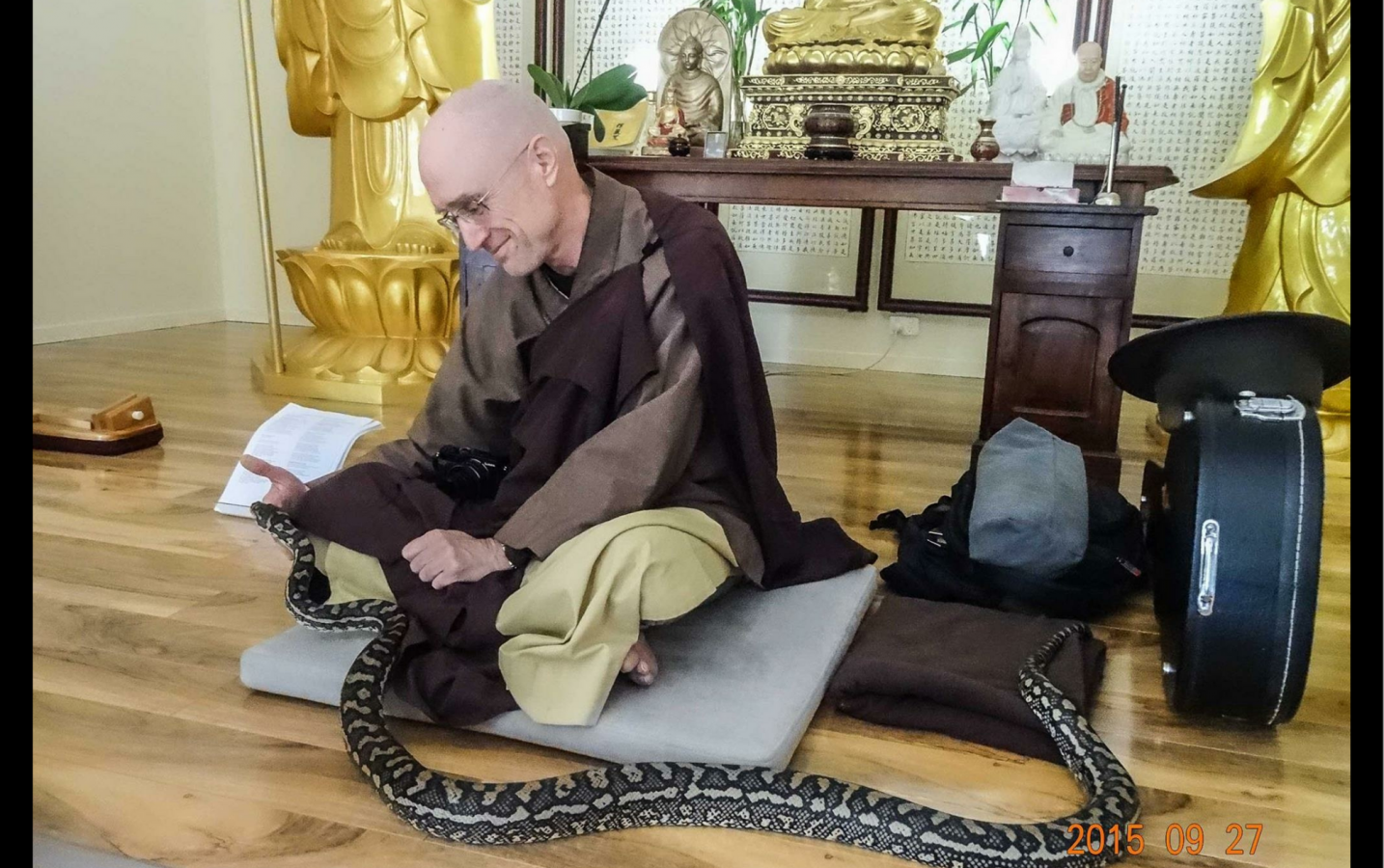 The third is a carpet python named Fractal paying a visit to a monk who has just finished teaching a class in meditation. The snake is a pet of one of the students, and is very relaxed around people. --Rev. Heng Sure